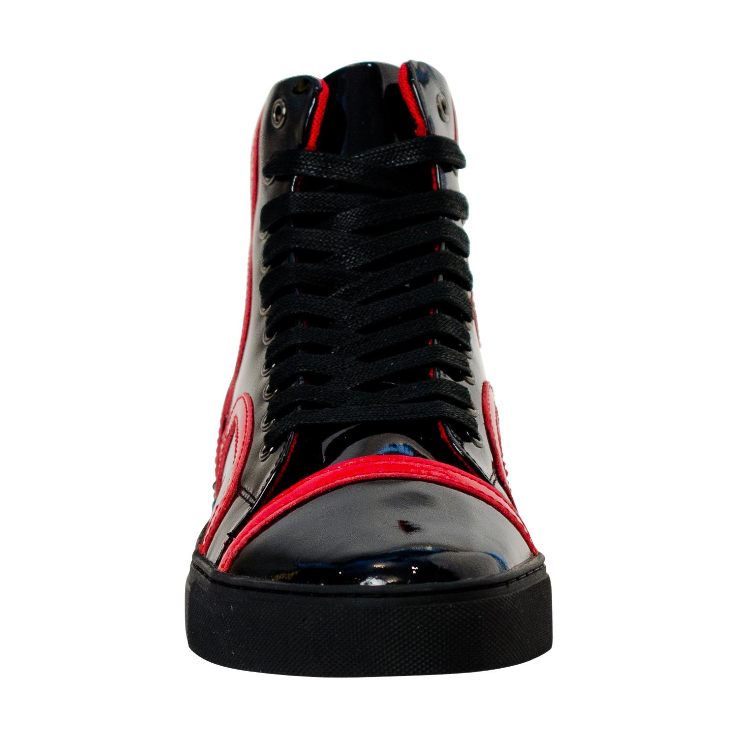 Bogart Black and Red Design Patent Leather High Top
