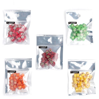 fruit candy in sample bags