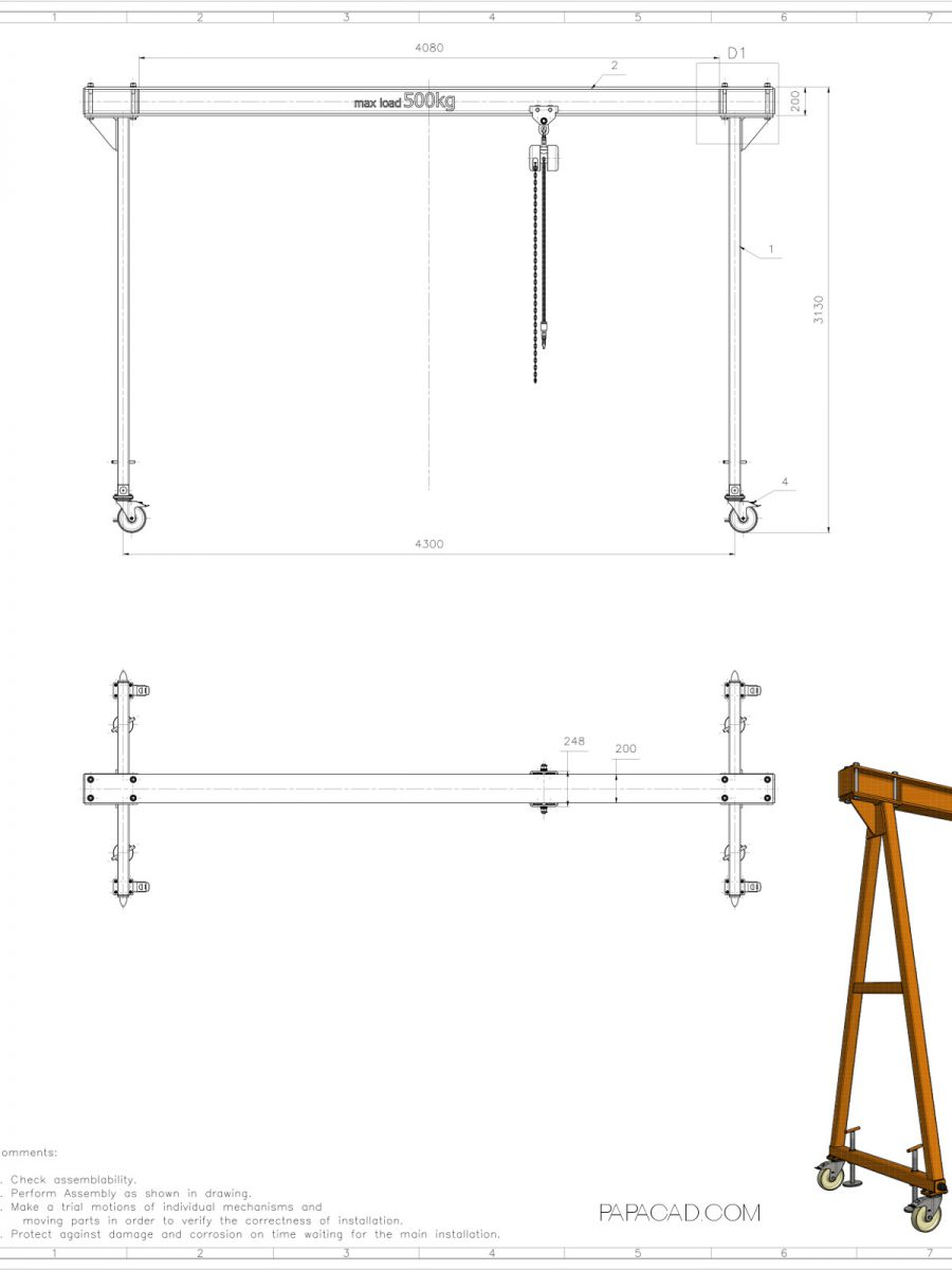 hight resolution of diy gantry crane gantry crane plans free cad drawings with dimensions free download