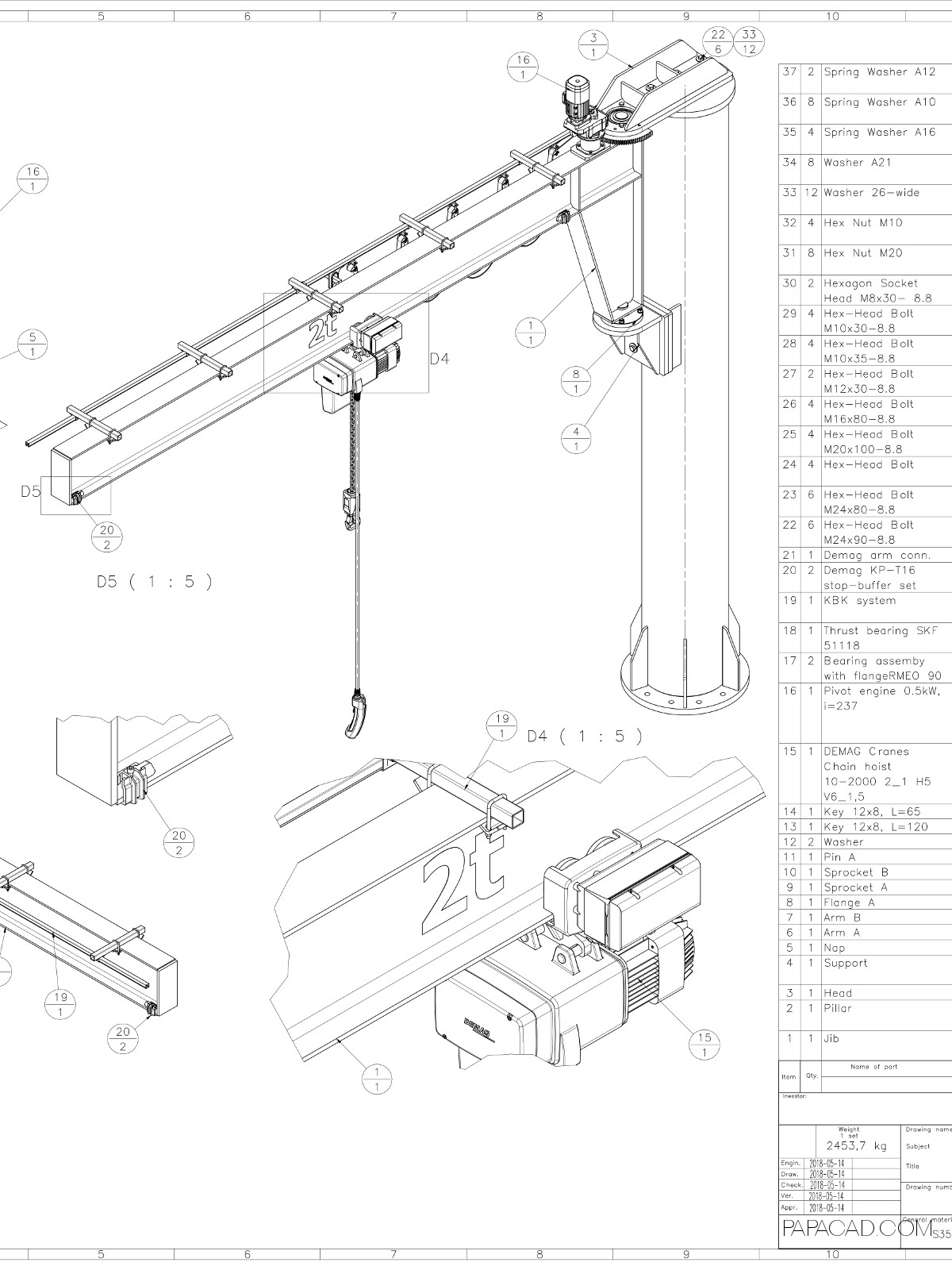 hight resolution of jib crane plans pdf and dwg download