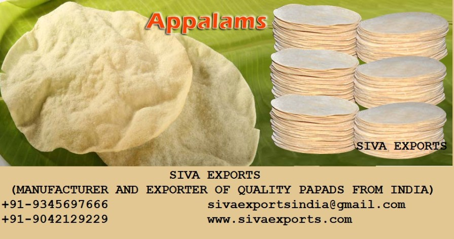 papad manufacturers, appalam manufacturers, papad manufacturers in india,appalam manufacturers in india, appalam manufacturers in madurai,papad manufacturers in madurai,appalam manufacturers in tamilnadu,papad manufacturers in tamilnadu,siva exports,Papad Manufacturer and Exporter in India
