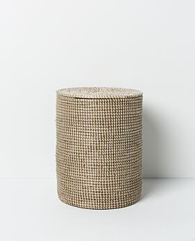 Kori Seagrass Laundry Basket Papaya