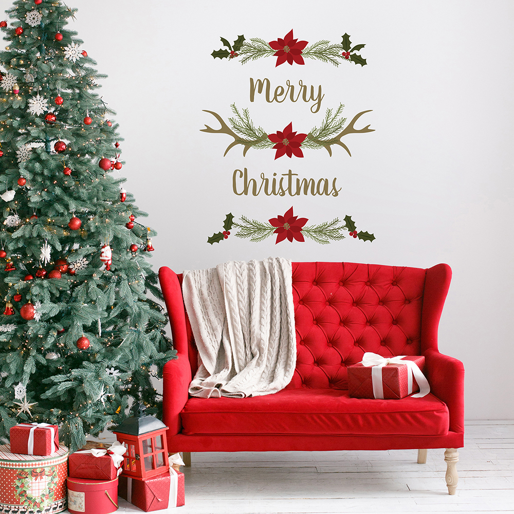 Merry Christmas Antlers Wall Decals