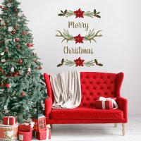 Merry Christmas Antlers Wall Decals - Paper Riot