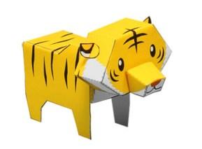 Papercraft imprimible y armable de un tigre. Manualidades a Raudales.