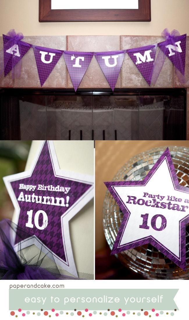 RockStar Printable Birthday Party