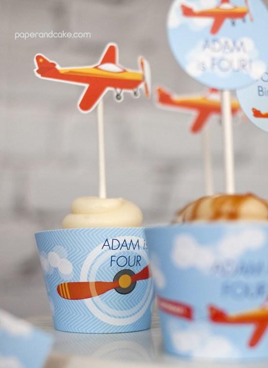 Airplane Birthday Printable Party cupcake wraps