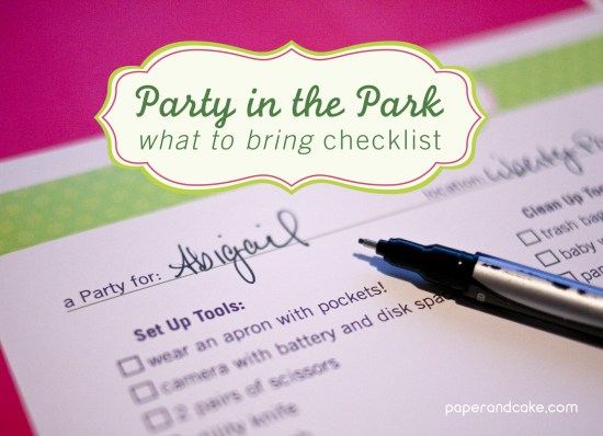party in the park checklist by paper & cake
