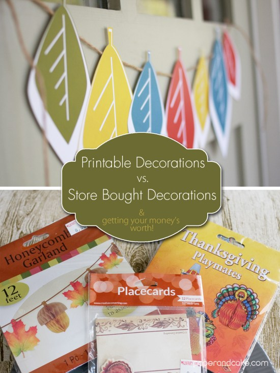 Paper & Cake Printable Decorations vs. Store Bought- getting your money's worth