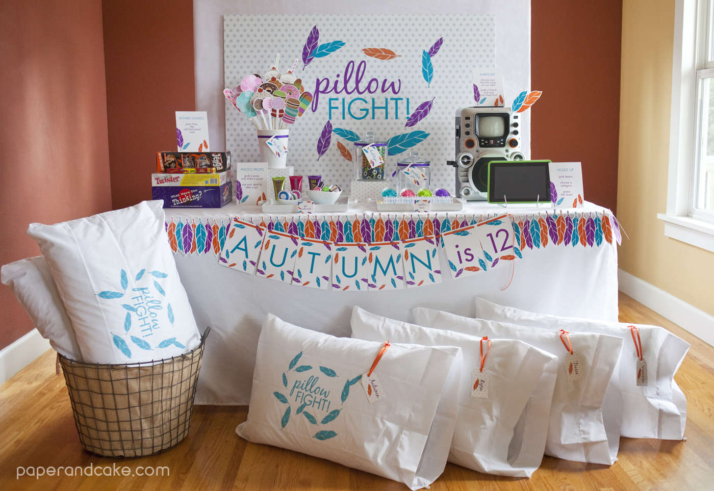 Pillow Fight Sleepover Printable Birthday Party Paper