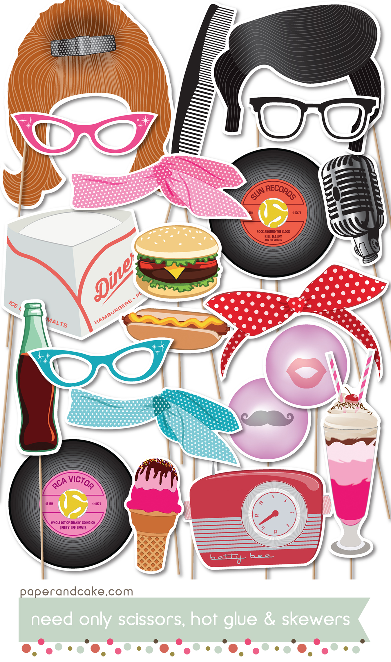 50s Printable Photo Booth Props Paper And Cake Paper And Cake