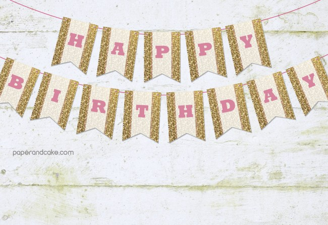 pink and gold sparkle pennant banner