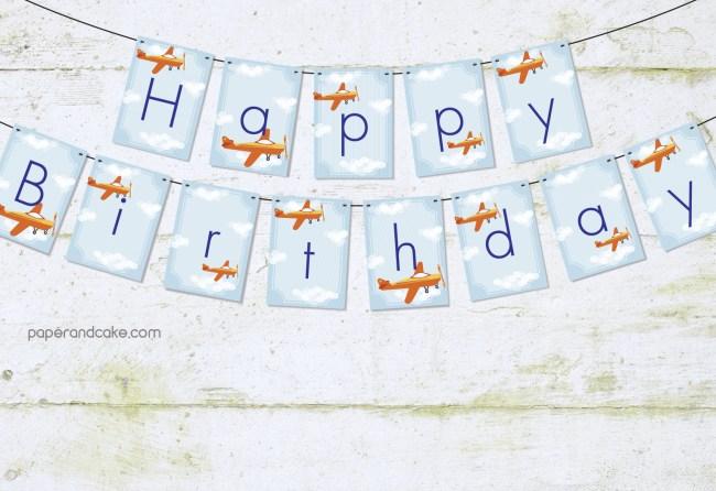 airplane happy birthday pennant banner