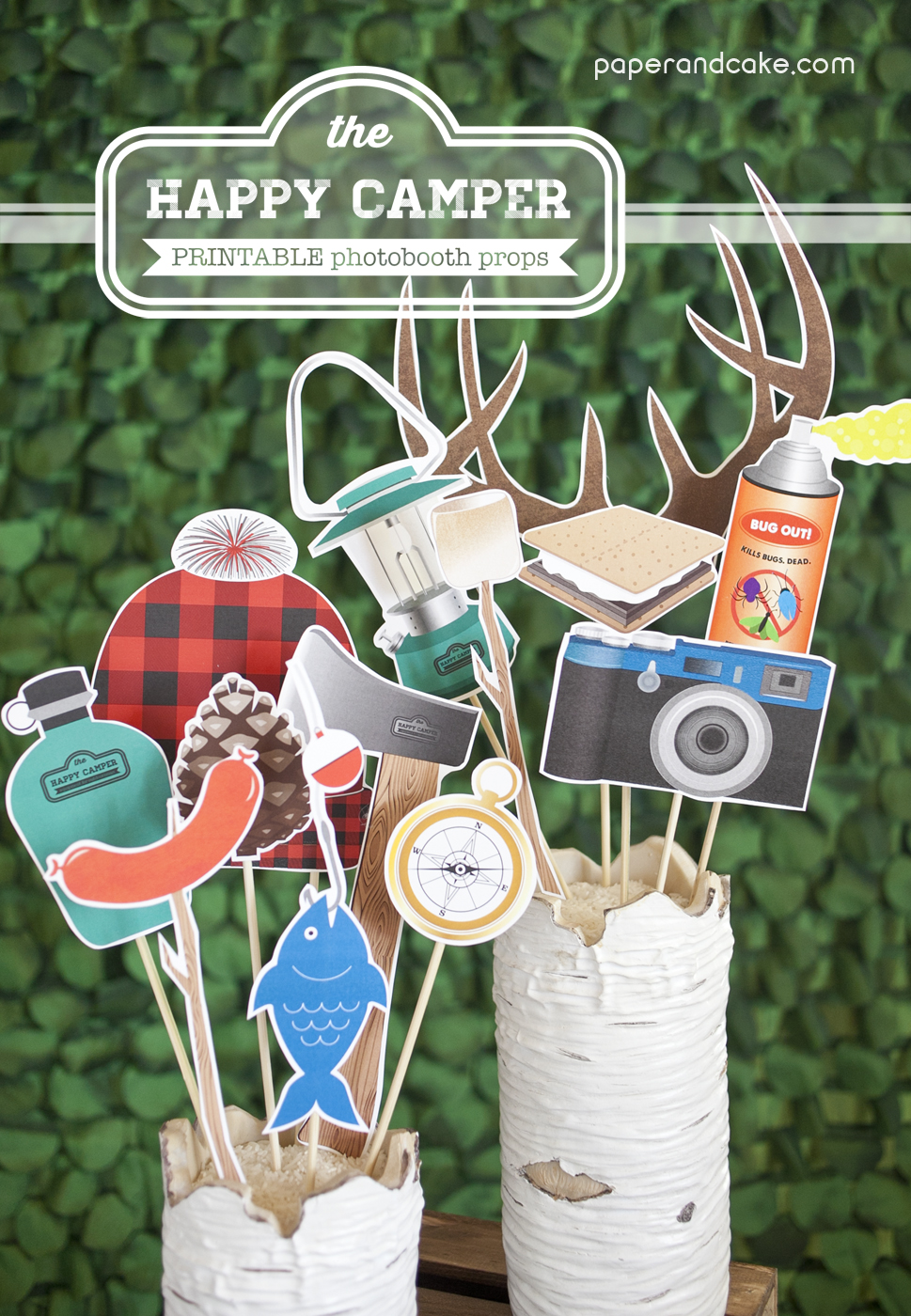 Camping Printable Photobooth Props  Paper and Cake Paper
