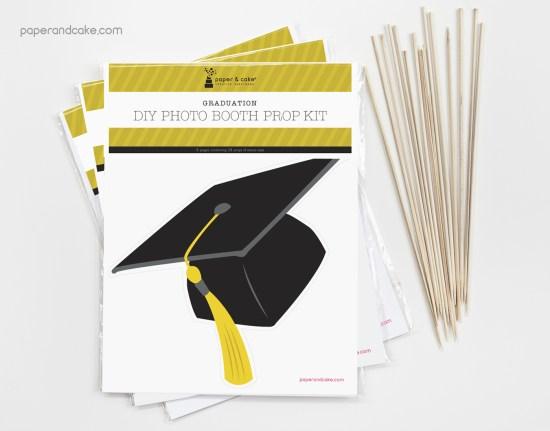 Printed DIY graduation photo booth prop kit