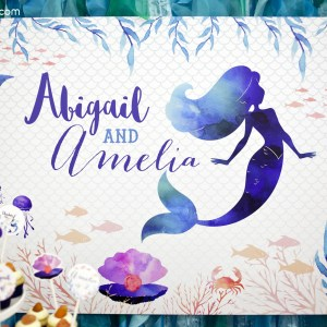 Mermaid Under the Sea Birthday Backdrop Banner