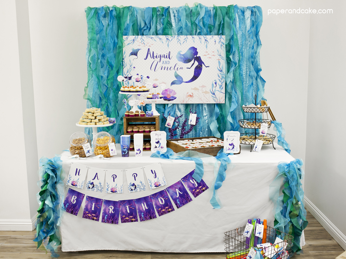 Mermaid Under The Sea Printable Birthday Party Paper And