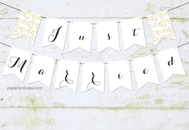 just married bridal pennant banner