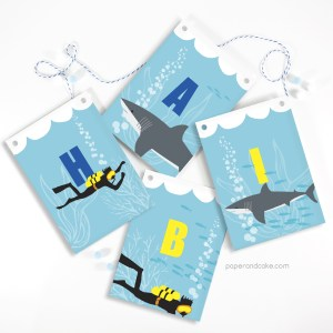Sharks and SCUBA Happy Birthday Pennant Banner