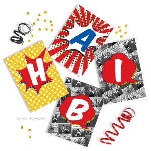 Comic Book Superhero Happy Birthday Pennant Banner