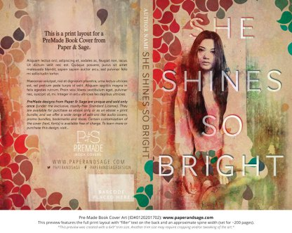 Print layout for Pre-Made Book Cover ID#0120201702 (She Shines So Bright)