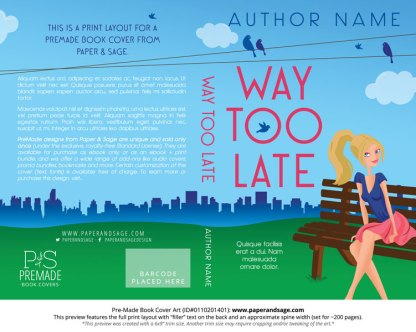 Print Layout for Pre-Made Book Cover ID#0110201401 (Way Too Late)