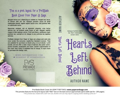 Print layout for Pre-Made Book Cover ID#171001TA01 (Hearts Left Behind)