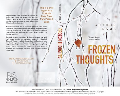 Print layout for Pre-Made Book Cover ID#171202TA01 (Frozen Thoughts)