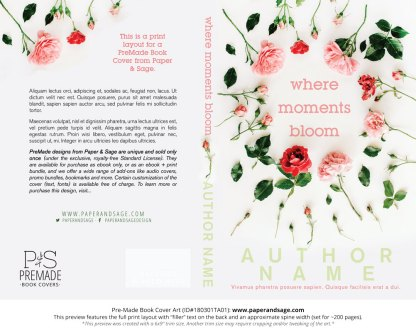 Print layout for Pre-Made Book Cover ID#180301TA01 (Where Moments Bloom)