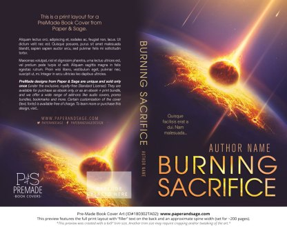 Print layout for Pre-Made Book Cover ID#180302TA02 (Burning Sacrifice)