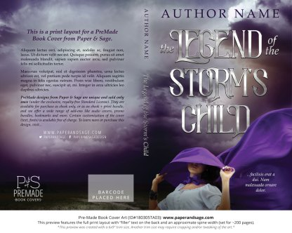 Print layout for Pre-Made Book Cover ID#180305TA03 (Legend of the Storm's Child)