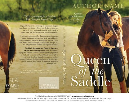 Print layout for Pre-Made Book Cover ID#180307TA01 (Queen of the Saddle)
