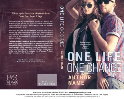 Print layout for Pre-Made Book Cover ID#180507TA01 (One Life One Chance)