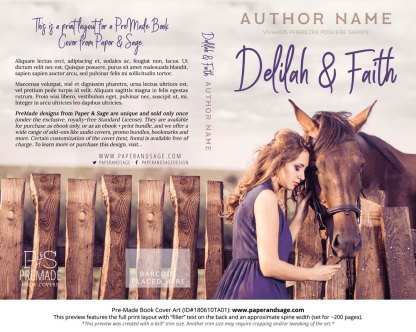 Print layout for Pre-Made Book Cover ID#180610TA01 (Delilah and Faith)