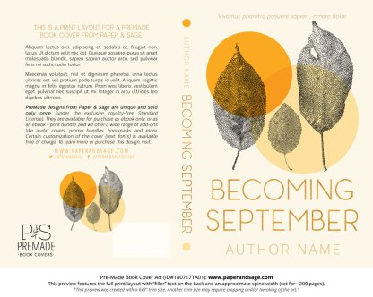Print layout for Pre-Made Book Cover ID#180717TA01 (Becoming September)