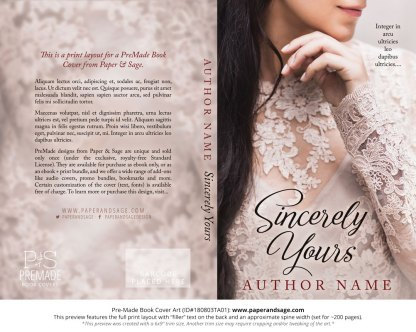 Print layout for Pre-Made Book Cover ID#180803TA01 (Sincerely Yours)