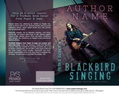 Print layout for Pre-Made Book Cover ID#180809TA01 (Blackbird Singing)