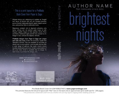 Print layout for Pre-Made Book Cover ID#180822TA01 (Brightest Nights)