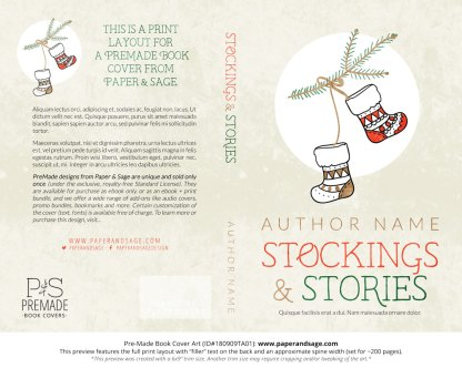 Print layout for Pre-Made Book Cover ID#180909TA01 (Stockings & Stories)