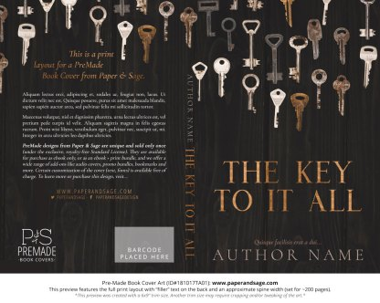 Print layout for Pre-Made Book Cover ID#181017TA01 (The Key to it All)