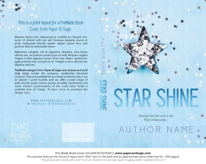 Print layout for Pre-Made Book Cover ID#181023TA01 (Star Shine)