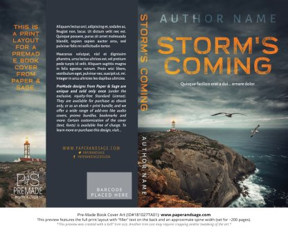 Print layout for Pre-Made Book Cover ID#181027TA01 (Storm's Coming)