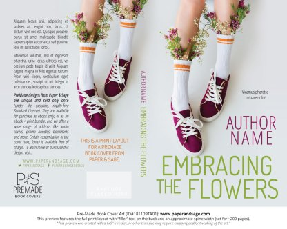 Print layout for Pre-Made Book Cover ID#181109TA01 (Embracing the Flowers)