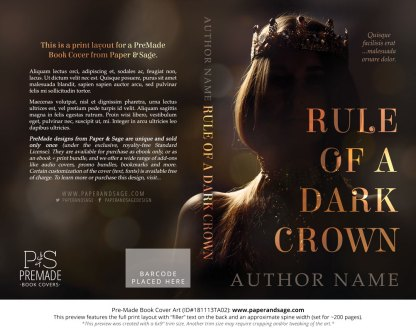 Print layout for Pre-Made Book Cover ID#181113TA02 (Rule of a Dark Crown)