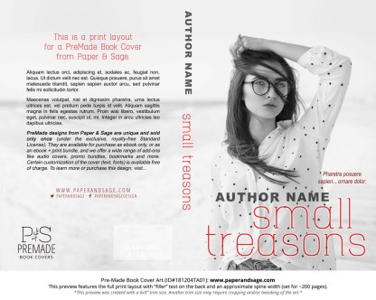 Print layout for Pre-Made Book Cover ID#181204TA01 (Small Treasons)