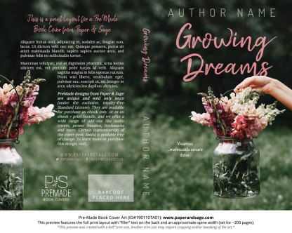 Print layout for Pre-Made Book Cover ID#190110TA01 (Growing Dreams)