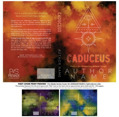Print layout for PreMade Series Covers ID#022019SA01 (Geometrica Alchemi Trilogy, Only Sold as a Set)