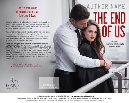Print layout for Pre-Made Book Cover ID#190408TA01 (The End of Us)