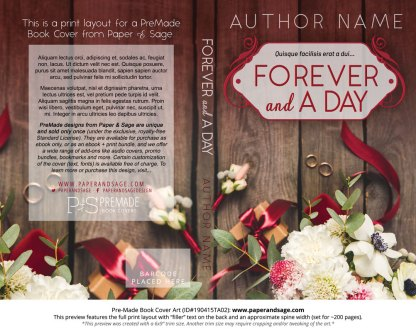Print layout for Pre-Made Book Cover ID#190415TA02 (Forever and a Day)