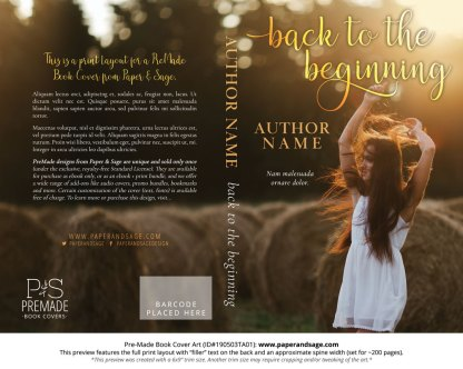 Print layout for Pre-Made Book Cover ID#190503TA01 (Back to the Beginning)